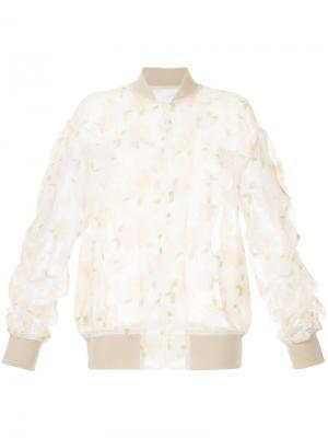 Полупрозрачная куртка-бомбер с вышивкой 08Sircus. Цвет: белый