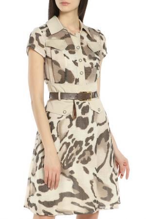Летнее платье-сафари Caterina Leman. Цвет: бежевый-коричневый 03-04
