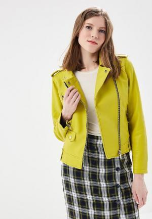 Куртка кожаная Mango. Цвет: желтый