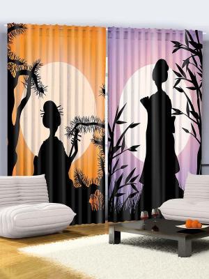 Комплект фотоштор Японки с веером и сямисэном, 290*265 см Magic Lady. Цвет: оранжевый, сиреневый