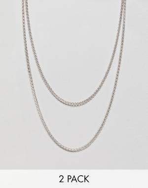 Icon Brand Короткое и длинное ожерелье (2 шт.) эксклюзивно для ASOS. Цвет: серебряный