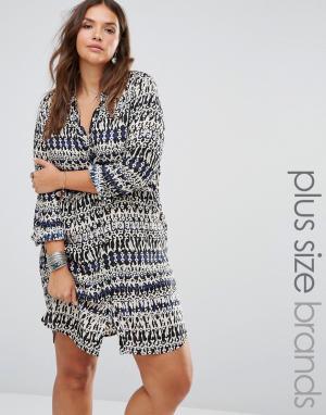 Diya Платье-рубашка с принтом Plus. Цвет: мульти