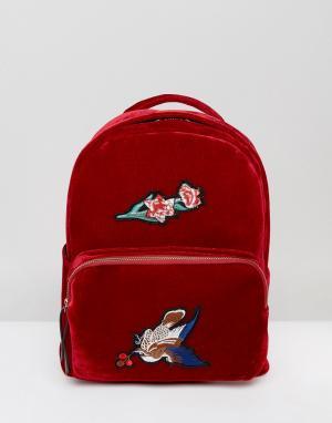 7X Бархатный рюкзак с вышивкой. Цвет: красный
