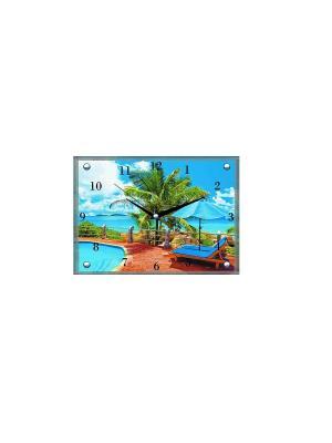 Настенные часы-картина Тропический рай 30х40 В6 PROFFI. Цвет: белый, синий, зеленый, бирюзовый, терракотовый, голубой, темно-бежевый