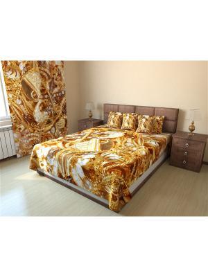 Фотопокрывало стеганое Олимп Текстиль. Цвет: светло-коричневый, коричневый, кремовый