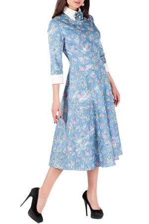 Платье Mannon. Цвет: бело-голубой