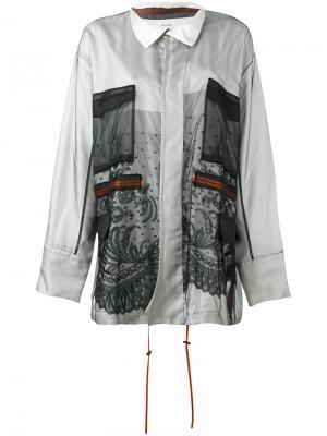 Куртка с сетчатой отделкой Quetsche. Цвет: белый