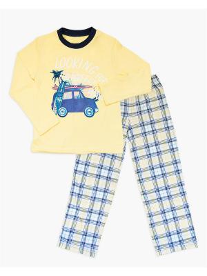 Пижама: лонгслив, брюки Mark Formelle. Цвет: желтый, молочный, синий