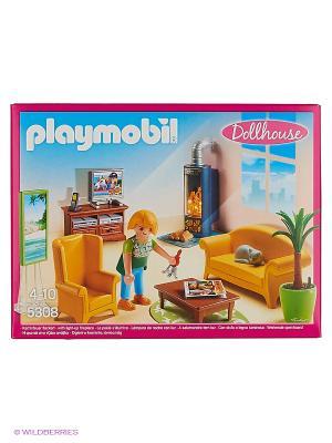 Кукольный дом: Гостиная с камином Playmobil. Цвет: желтый, зеленый, коричневый