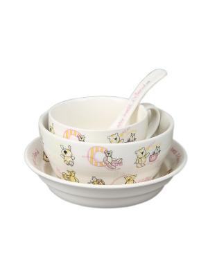 Посуда  детская в наборе 4 предмета ,в п/у Elff Ceramics. Цвет: розовый, белый