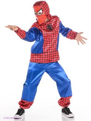 Карнавальный костюм Человек-паук Батик. Цвет: синий, красный