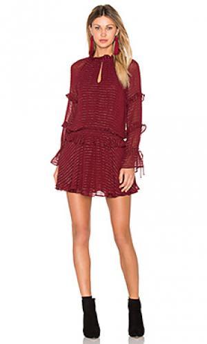 Мини-платье с длинным рукавом Hoss Intropia. Цвет: вишня