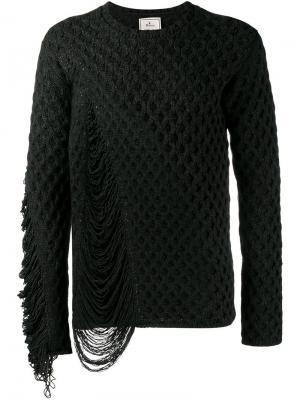 Фактурный вязаный свитер Maison Mihara Yasuhiro. Цвет: чёрный