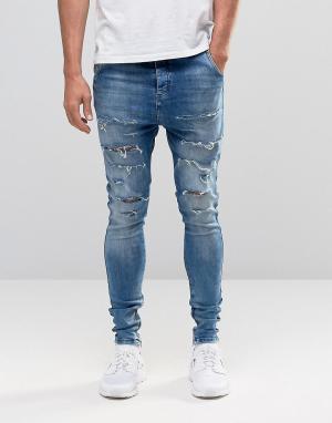 SikSilk Гаремные джинсы с рваной отделкой. Цвет: синий