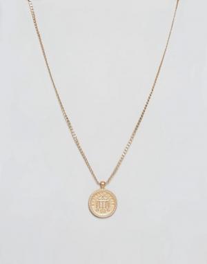 Chained & Able Матовое золотистое ожерелье с медальоном. Цвет: золотой
