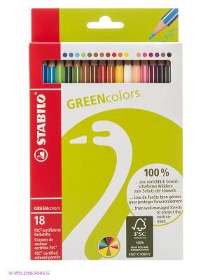 Набор цветных карандашей, 18 цв. Stabilo. Цвет: салатовый
