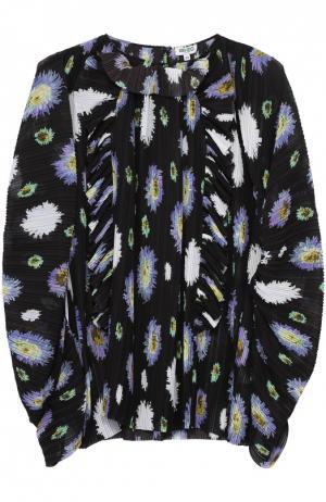 Плиссированная блуза асимметричного кроя с цветочным принтом Kenzo. Цвет: черный