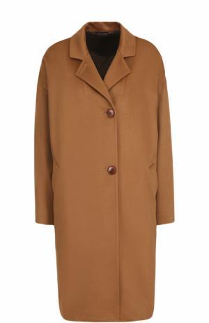 Однобортное кашемировое пальто прямого кроя Colombo. Цвет: бежевый
