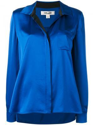 Блузка с металлическим блеском Diane Von Furstenberg. Цвет: синий