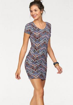 Платье AJC. Цвет: синий/оранжевый/черный/бордовый