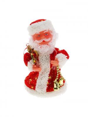 Дед Мороз музыкальный в красной шубке с колокольчиком (русская мелодия), 17,5см А М Дизайн. Цвет: красный, золотистый, белый, светло-коралловый