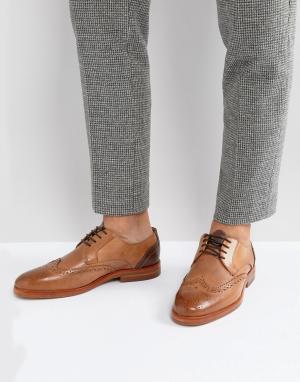 Hudson London Светло-коричневые кожаные броги Osney. Цвет: рыжий