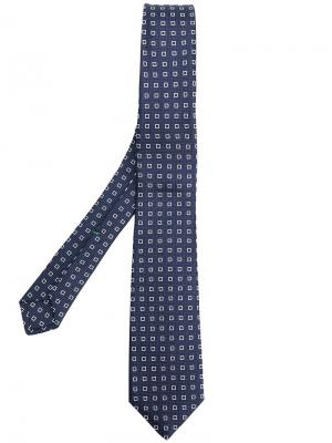 Жаккардовый галстук с узором Borrelli. Цвет: синий