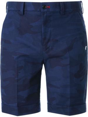 Камуфляжный шорты со складками Loveless. Цвет: синий