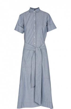Платье-рубашка макси с поясом Lisa Marie Fernandez. Цвет: синий