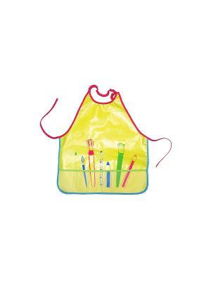 Фартук для творчества на резинке и с карманом ПОМА. Цвет: желтый