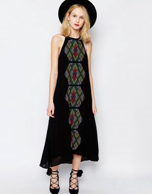 Piper Платье макси с вышивкой Bima. Цвет: черный