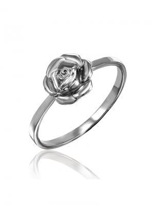Нежное кольцо с розой KU&KU. Цвет: серебристый