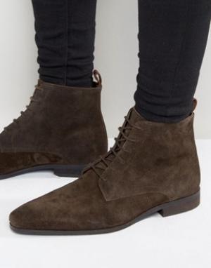 Zign Замшевые ботинки на шнуровке. Цвет: коричневый
