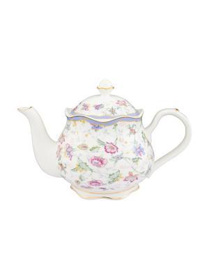 Чайник Цветочный каприз Elan Gallery. Цвет: белый, голубой, зеленый