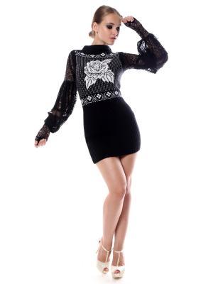 Платье-туника-жилет вязаное Белая роза на черном SEANNA