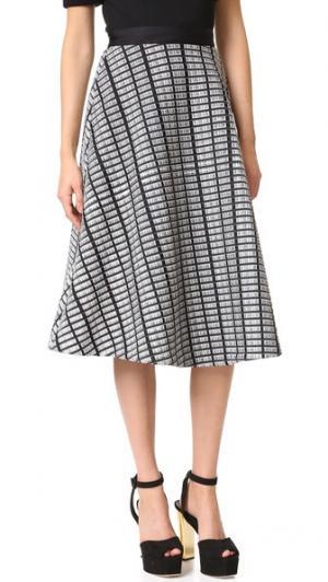 Широкая юбка Lela Rose. Цвет: черный/цвет слоновой кости