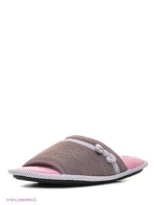 Тапочки Isotoner. Цвет: коричневый, розовый