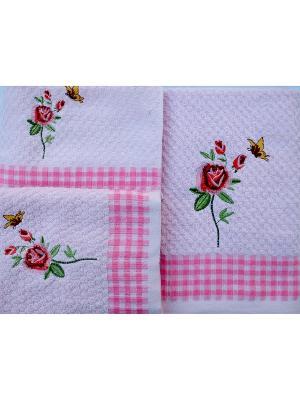 Комплект полотенец РОЗЫ,  3 предмета, 30х70, 50х70,70х140 La Pastel. Цвет: розовый