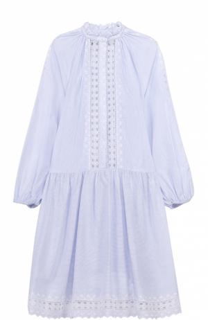Платье-рубашка свободного кроя с кружевными вставками Zimmermann. Цвет: голубой