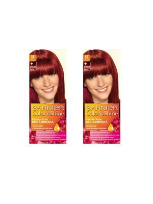 Краска-уход для волос Color&Shine без аммиака, 6.6, Дикая клюква, 2 шт. Garnier. Цвет: бордовый