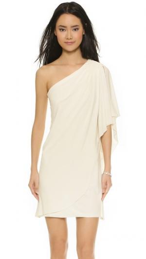 Мини-платье с открытым плечом Badgley Mischka Collection. Цвет: белый