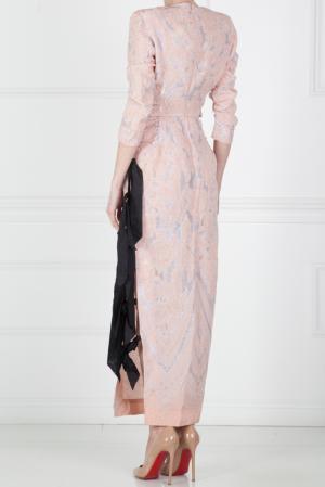 Шелковое платье Alessandra Rich. Цвет: розовый, черный