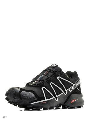 Кроссовки SHOES SPEEDCROSS 4 GTX BLACK/BLACK/SI SALOMON. Цвет: черный, белый