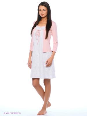 Комплект Milana Style. Цвет: бледно-розовый, белый