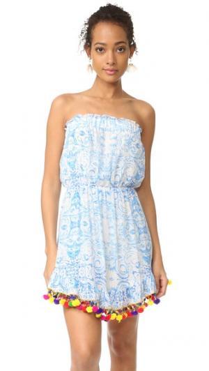 Короткое платье из Misummer голубой Athena Procopiou. Цвет: синий/белый