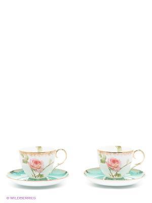 Чайный набор на 2 персоны Роза Pavone. Цвет: зеленый, розовый, золотистый, белый
