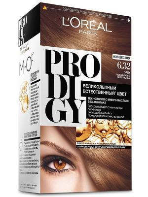 Краска для волос Prodigy без аммиака, оттенок 6.32, Орех L'Oreal Paris. Цвет: коричневый, белый, черный