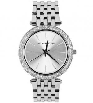 Серебристые часы с инкрустацией кристаллами Michael Kors