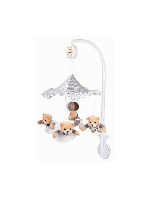 Карусель музыкальная плюшевая - медвежата под зонтиком, 0+ Canpol babies. Цвет: белый, коричневый, бежевый