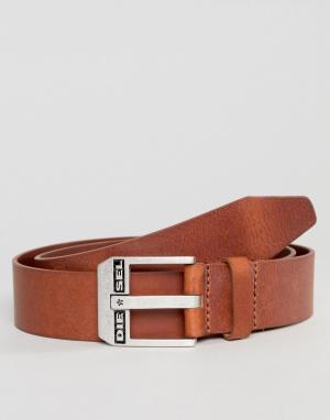 Diesel Светло-коричневый кожаный ремень. Цвет: рыжий